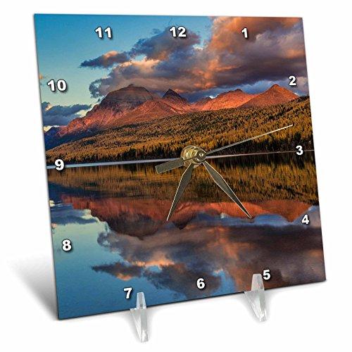 3dRose Danita Delimont - Lakes - Sunset on autumn tamarack trees over Bowman Lake, Glacier NP, Montana - 6x6 Desk Clock ()