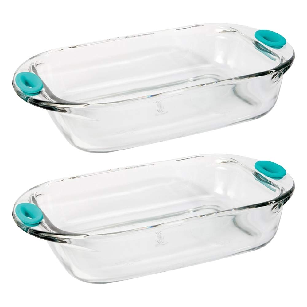 Anchor Hocking Premium 1.5 Quart Loaf Glass Baking Dish with Removable Silicone Grips,Teal, Set of 2