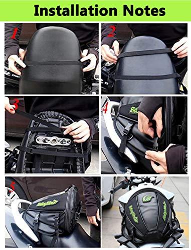 4 Liter Capacity Black Motorbike Tail Bag Rear Seat Storage Bag for Honda Yamaha Suzuki Kawasaki Harley Hkim Waterproof Motorcycle bag Motorcycle Back seat Bag