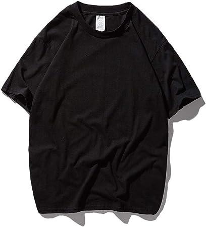 Manga Corta Camiseta de Cuello Redondo for Hombre de los niños Sumer Manga Corta Camisetas en Color Liso Oversized Loose 1-Pack Negocios Ocio para Hombres Golf (Color : Negro, tamaño : XXL):