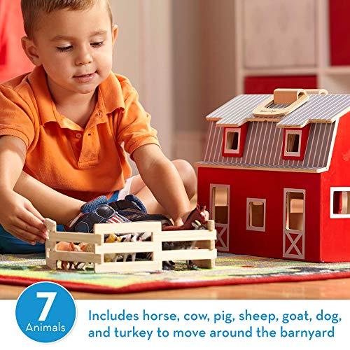 Melissa & Doug Wooden Fold & Go Barn, Animal & People Play Set (7 Animal Play Figures, 11.25
