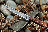 (38 5/18) Sale DKC-611 Salt Point Fishing Filet Knife Damascus Blade Hunting Handmade Knife Fixed Blade 4.9 oz 10'' Long 6'' Blade