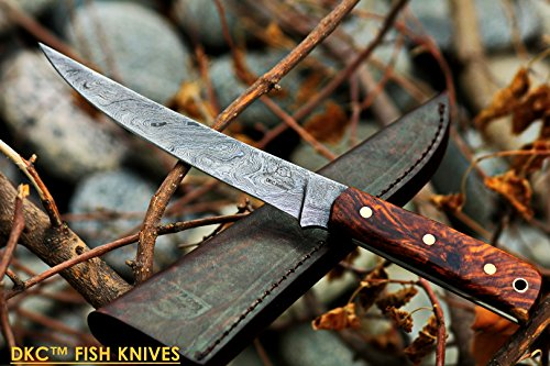 (38 5/18) DKC-611 Salt Point Fishing Filet Knife Damascus Blade Hunting Handmade Knife Fixed Blade 4.9 oz 10