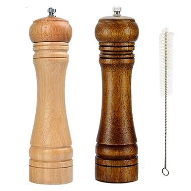 Wood Salt and Pepper Grinder Set, Oak Wooden Salt and Pepper Mills Shakers With Adjustable Coarseness Ceramic Rotor, Salt and Pepper Grinder With Cleaning Brush(Set of 2),8 inch