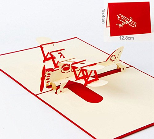 (DOFE 3D Birthday Pop Up Greeting Cards for kids, for Wife Husband Day Card and Anniversary Wedding Cards Graduation Gift. (Red Plane))