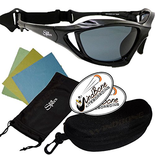 SeaSpecs Stealth Black Action Water Sports Floating Polarized Sunglasses w Semi Rigid Case Bundle (5 Items) + Flex Clip Case + Soft Carry Pouch + Lens Cloth + WindBone Kiteboarding - Sunglasses For Watersports Polarized