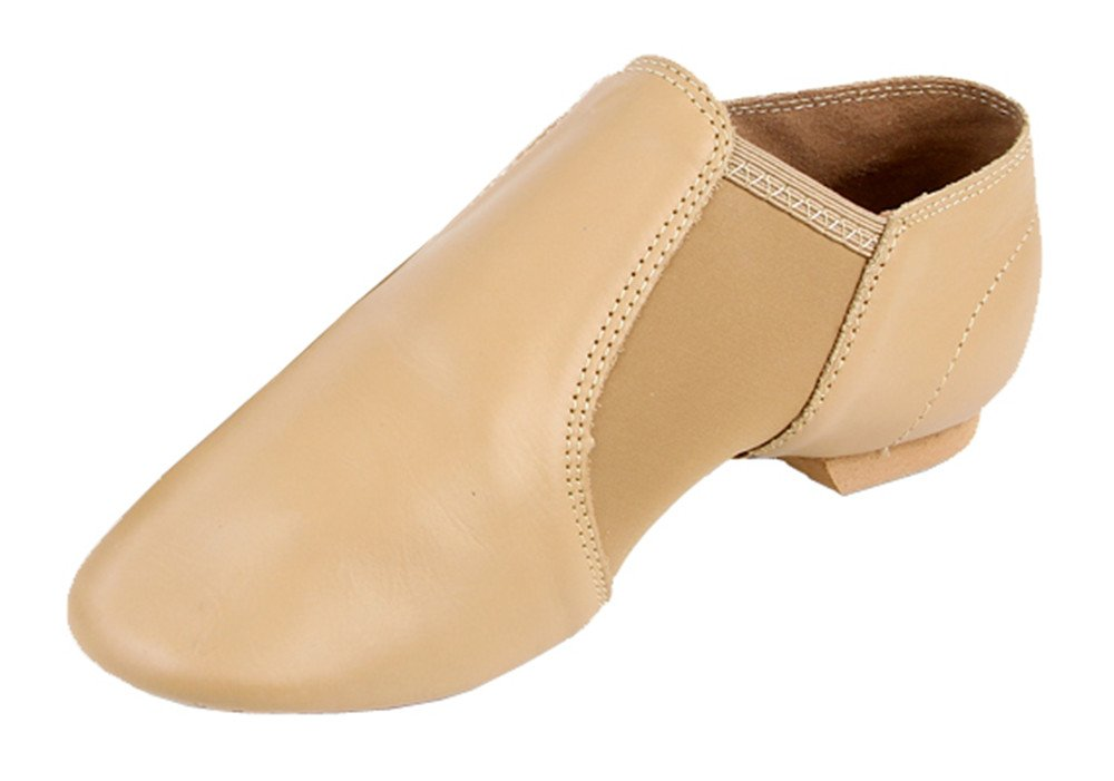 Kid's Leather Flex Slip-on Jazz Boots Practice Dance Shoes with Spandex Gore(2.5, Nude)