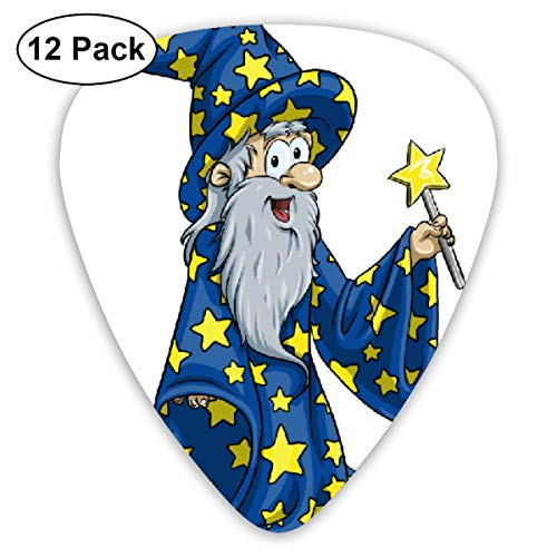 Halloween Wizard Animated Bearded Man Small Medium Large 0.46 0.73 0.96mm Mini Flex Assortment Plastic Top Classic Rock Electric Acoustic Guitar Pick Accessories Variety Pack]()