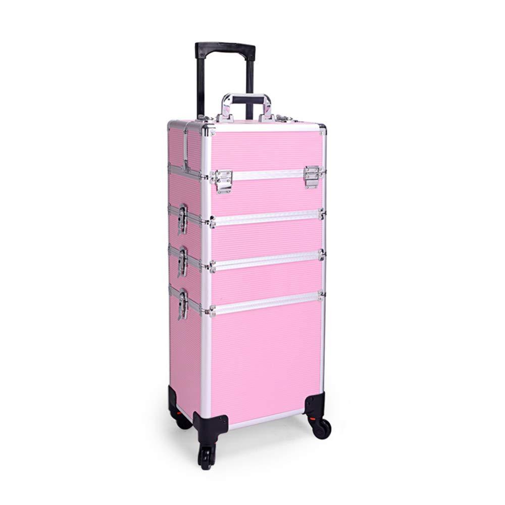 大容量化粧品トロリーケース、多層取り外し可能な調整旅行ミュート美容トロリー、多機能ネイルサロンタトゥーツール美容ボックスZDDAB  Pink B07R9W3568