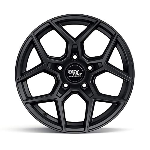 RockTrix RT105 - (1) 17 inch Wheel for Jeep Wrangler JK JL 5x5 Bolt Pattern 17x9 (+12mm Offset, 5.5 inch Backspacing) 71.5mm Bore - Matte Black - Also for Grand Cherokee WJ WK WK2, Commander XK ()