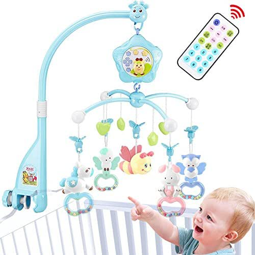 caterbee Baby Crib Mobile for Pack and Play, Crib mobiles for boy with Lights and Music,Remote,Projector,Newborn Gift for Stroller Accessories. Materials:ABS+Plastic(Blue-Bee)