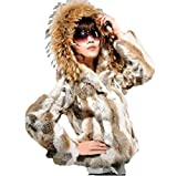 100% Real rabbit women's fur short fur coat With a large raccoon fur collar hat
