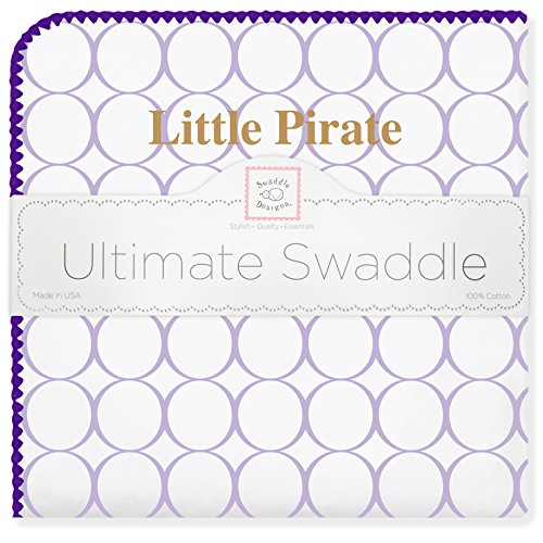 SwaddleDesigns Ultimate Swaddle, X-Large Receiving Blanket, Made in USA Premium Cotton Flannel, East Carolina University, Little Pirate (Mom's Choice Award Winner) ()