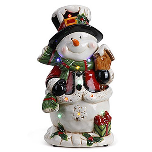 Napco Imports Snowman with Birdhouse Musical LED Light Up 10.5 Inch Ceramic Decorative Figurine