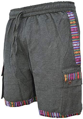Mens Cotton Contrast Border Gheri Edge Nepalese Shorts Hippie Boho