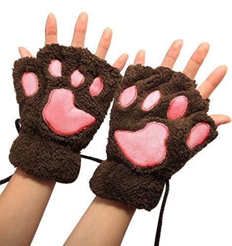 - Winday Women Bear Plush Cat Paw Claw Glove Soft Winter Gloves