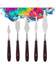 KELIFANG 5 Pieces Painting Knives Stainless Steel Palette Knife Set, Paint Scraper Oil Paint Accessories for Oil Painting, Acrylic Painting, Color Mixing and Thick Paint Applications
