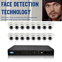 OwlTech 16 Channel Face Detection NVR up to 5MP Resolution + 16 x 3MP 2.8-12mm IP Dome Camera with Smart IR + WDR + POE + 2TB HDD + 100ft cable and accessories