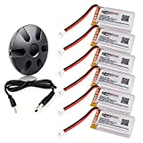 keenstone 6Pcs 720mAh 20C battery with 6-Port Upgrade Black Charger for Syma X5 X5C X5A X5SW X5C X5C-1 & Cheerson CX-30W Quadcopters, Overcharge protection and Faster Charging Speed