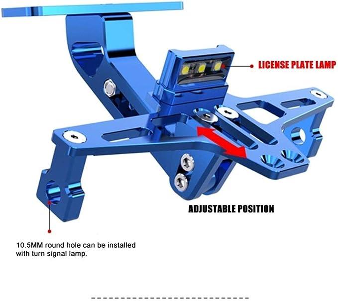 Motorrad-LED-Kfz-Kennzeichen-Halter-Unterst/ützung Plaque Moto-Klammer-Rahmen for fz6 fz1 Benelli TRK 502 TNT 125 Xmax 125 Buell Yamaha Color : Red