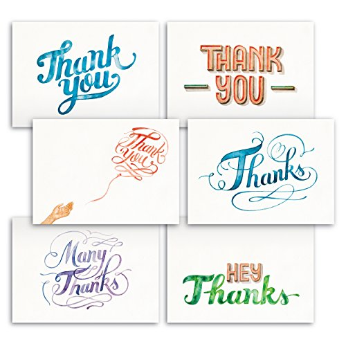 Hand Painted Watercolors Design Thank You Note Cards 36 Bulk – Lovely, Like Handmade Cards Box Set – Contains Blank Cards with Envelopes – 6 Special D…