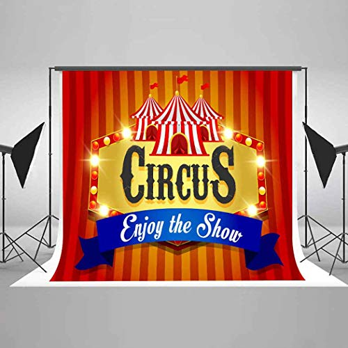 EARVO 7x5Ft Circus Backdrops Shining Points Red Curtain Photography Background for Circus Performance Poster Photo Shoot Props EAGE388 -