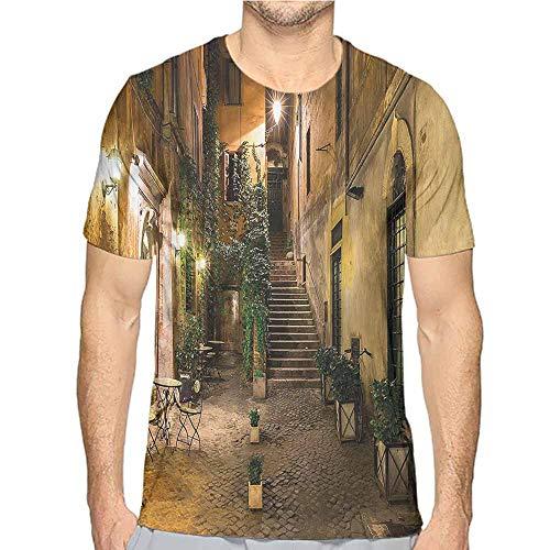 Mens t Shirt Italian,Old Cafe in Rome City HD Print t Shirt S