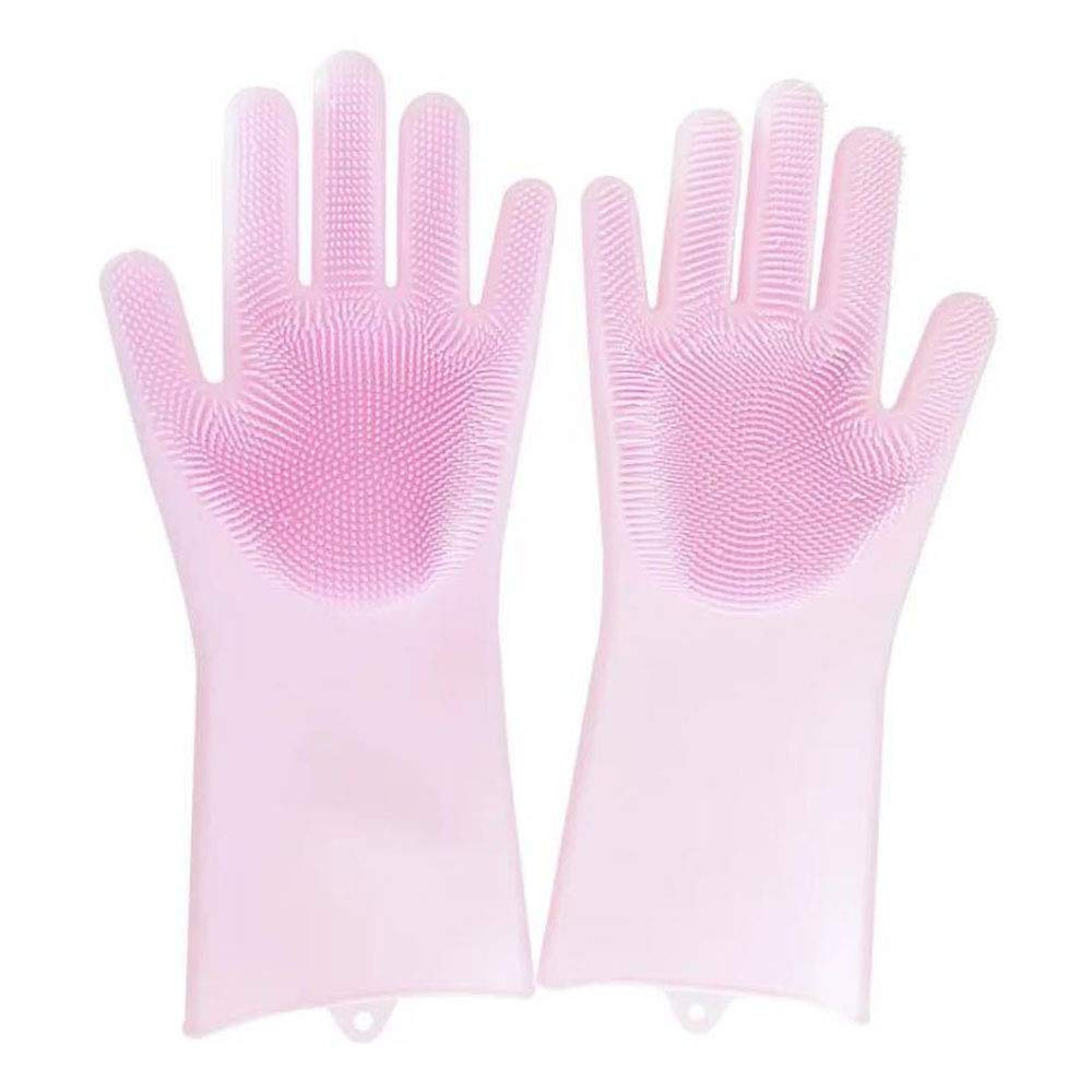 1 Pair Megic Scrubber Gloves Silicone Cleaning Gloves Dish Washing Gloves Household Tools Helper (Pink) YFD