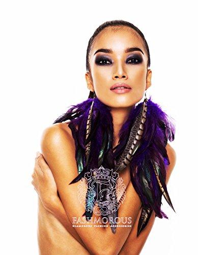 Stesti Online Fashmorous Feather Earrings Purple Natural Feather Jewelry Fancy Feather Earrings Long
