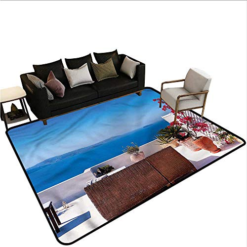 "Modern,Kitchen Doormat 80""x 120"" Santorini Aegean Sea Bedroom Rugs"