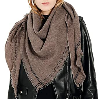 Auppova Women's Scarf Fashion Classical Winter Shawl Wrap Solid Long Wool Shawl Soft Neck Scarf for Lady Girl