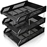 SAYEEC Sturdy 3 Tier Foolscap Desktop File Letter Trays Plastic Holders & 8 Metal Riser Rods / File Dividers Document Rack Display and Storage Organiser Black