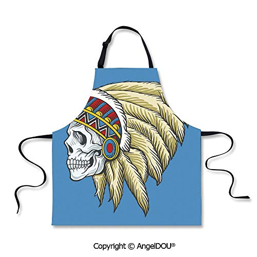 SCOXIXI Durable Polyester Waterproof Apron Native American Dead Skull with Feathers Tattoo Folk Aztec Pattern Decorative for Cooking Baking -