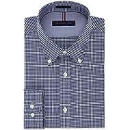 [Sponsored]Tommy Hilfiger Navy Mens Gingham Check Dress Shirt