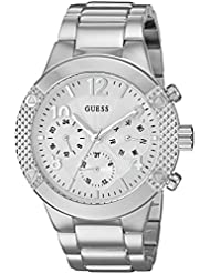 GUESS Womens U0849L1 Sporty Silver-Tone Stainless Steel Watch with Multi-function Dial and Pilot Buckle