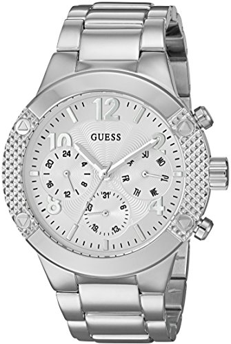 Steel Dial Buckle Stainless (GUESS Women's U0849L1 Sporty Silver-Tone Stainless Steel Watch with Multi-function Dial and Pilot Buckle)