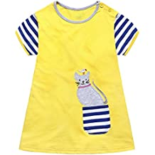 Little Girls Dresses Cotton Summer Casual Short Sleeve for 1-6 Years Toddler Girls