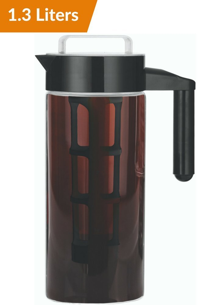 1.3L Cold Brew Coffee Maker - Brewed Iced Coffee Makers - Glass Pitcher Infuser Cold Brewer System Set with Removable Filter Willow & Everett
