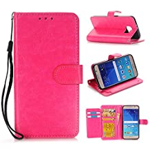 Samsung Galaxy S6 Wallet Flip Case,DLFcase [Stand Feature] Premium Protective PU Leather Flip Cover w/ Card Slot Side Pocket Magnetic for Galaxy S6 (Hot pink)