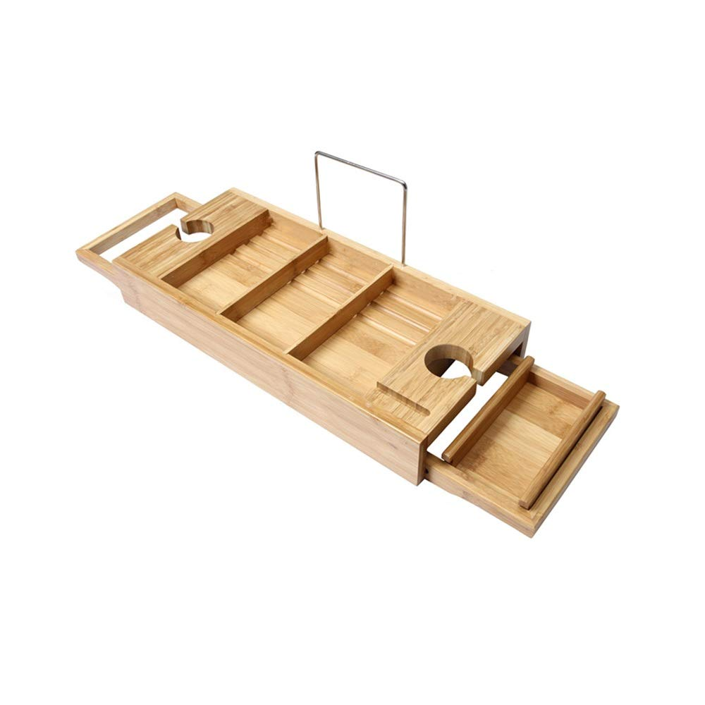XSJZ Bathtub Shelf, Multi-Function Bathtub Rack Bracket Bath to See Bookshelf Bathtub Partition Shelf
