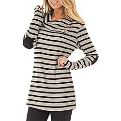 FEITONG Women's Casual Striped Turn-Down Cowl Neck Long Sleeve Sweatshirt Tops Blouse(Small,Khaki)