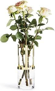 """Sagaform Designer Adjustable Glass Vase, 9 7/8"""" x 4"""", clear/gold"""