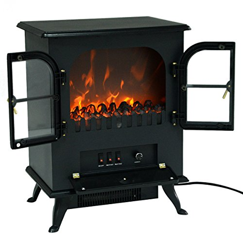 Giantex Free Standing Electric 1500w Fireplace Heater Fire Flame Stove Wood Adjustable Space