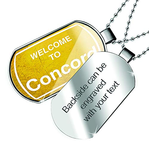 (NEONBLOND Personalized Name Engraved Yellow Road Sign Welcome to Concord Dogtag Necklace)