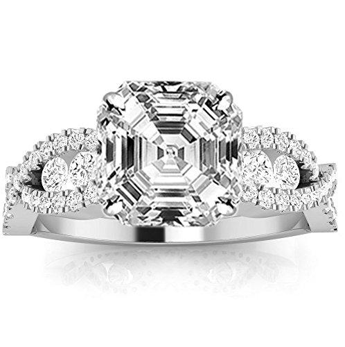 14K White Gold 1.12 CTW Designer Twisting Eternity Channel Set Four Prong Diamond Engagement Ring w/ 0.52 Ct Asscher Cut F Color VVS2 Clarity Center