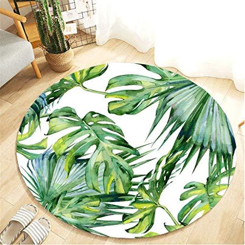 Muicook Bedroom Carpet,Tropical Plant Leaves Pattern Round Flannel Bathroom Kitchen Carpet (B,100CM)