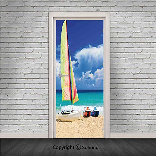 Apartment Decor Door Wall Mural Wallpaper Stickers,Exotic Cuban Beach with Wind Surfing Boat and Waves Tropic Coastal Picture,Vinyl Removable 3D Decals 30.4x78.7/2 Pieces set,for Home Decor Blue Cream
