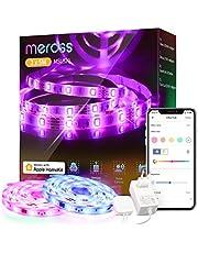 Wi-Fi LED Strip Działa z Apple HomeKit, Meross Smart RGB Strip, 12V IP20 Oświetlenie Paskowe, Elastyczne DIY Strip Działa z Siri, Alexa i Google, na Boże Narodzenie, Party, 5M x2