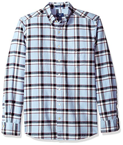 GANT Shirts Standard Men's Classic Brushed Oxford Check Shirt, Hamptons Blue, Medium - Mens Brushed Check Shirt