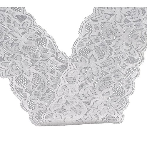 (Housweety 10 Yards White Stretch Floral Scallop Lace Edge Trim 3-1/8